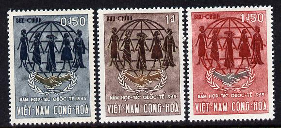 Vietnam - South 1965 International Co-operation Year set of 3 unmounted mint, SG S238-40