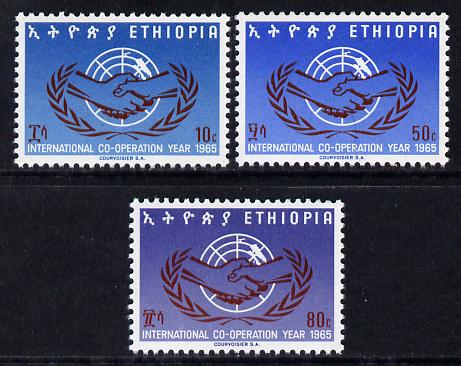 Ethiopia 1965 International Co-operation Year set of 3 unmounted mint, SG 627-29