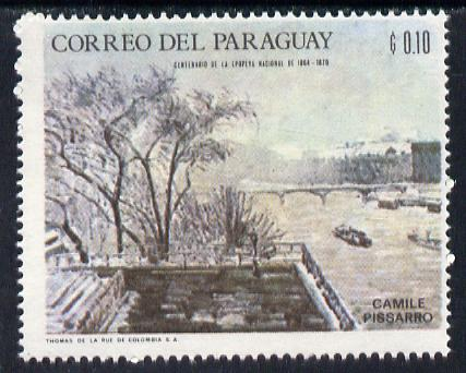 Paraguay 1968 Winter Olympics - Impressionist Paintings - Seine in Winter by Camille Pissarro 10c unmounted mint, Mi 1814