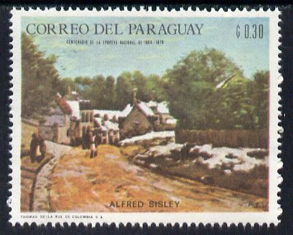 Paraguay 1968 Winter Olympics - Impressionist Paintings - Alfred Sisley 30c unmounted mint, Mi 1818