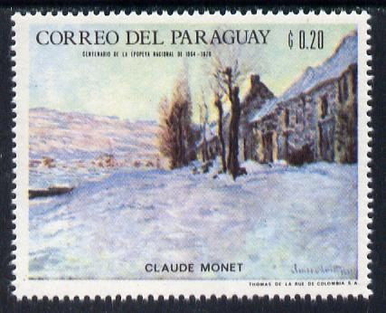 Paraguay 1968 Winter Olympics - Impressionist Paintings - Claude Monet 20c unmounted mint, Mi 1816