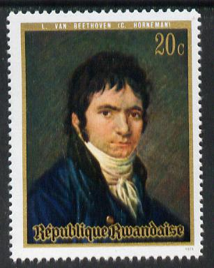 Rwanda 1971 portrait of Beethoven by Horneman 20c from set of 6 unmounted mint, SG 418*