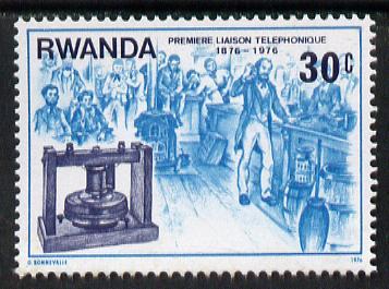 Rwanda 1976 Early telephone 30c from Telephone Centenary set unmounted mint, SG 752*