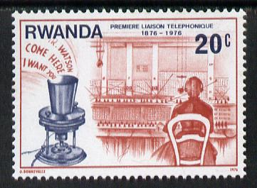Rwanda 1976 Bell's Experimental Telephone & Manual Switchboard 20c from Telephone Centenary set unmounted mint, SG 751*
