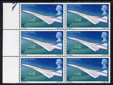 Great Britain 1969 First Flight of Concorde 4d positional block of 6 showing 'Oil Slick' flaw unmounted mint, SG 748var