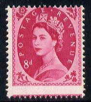 Great Britain 1958-65 Wilding 8d magenta with 2mm downward shift of horizontal perfs, slight gum disturbance