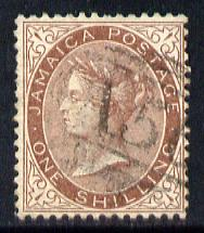 Jamaica 1860-70 1s yellow-brown used, few nibbled perfs, SG 6