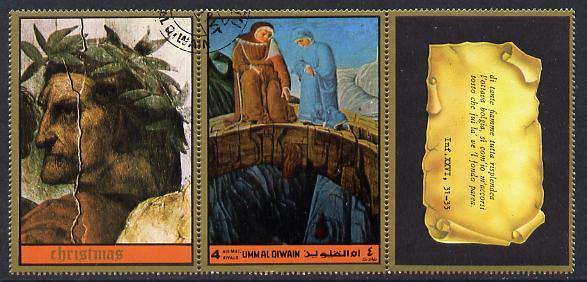 Umm Al Qiwain 1972 The Divine Comedy by Dante 4R showing couple dropping bags from bridge in fine cto used strip of three (1 stamp plus 2 labels)