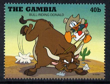 Gambia 1995 Donald Duck bull-riding 40b from Cowboys & Indians set unmounted mint, SG 2161