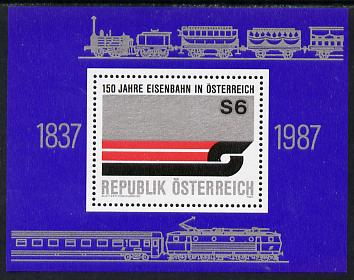 Austria 1987 150th Anniv of Austrian Railways sheetlet unmounted mint, SG MS2110