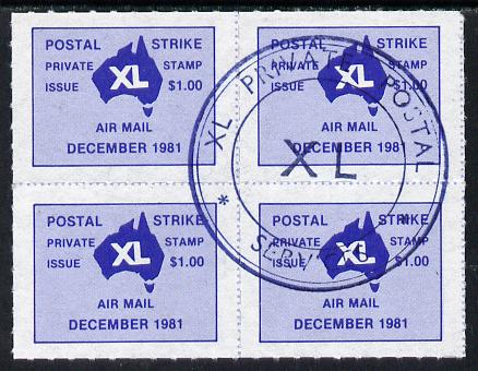 Australia 1986 Postal Strike XL private $1 Air Mail label in block of 4 with special XL cancellation