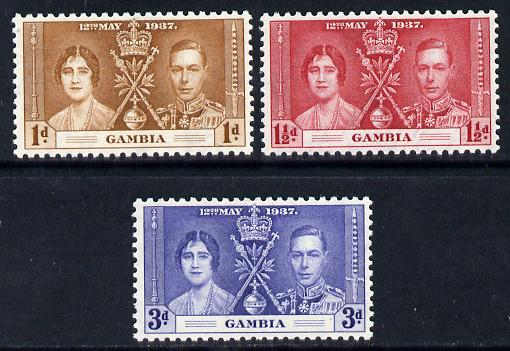 Gambia 1937 KG6 Coronation set of 3 unmounted mint SG 147-9