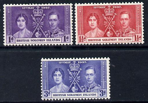 Solomon Islands 1937 KG6 Coronation set of 3 unmounted mint SG 57-9