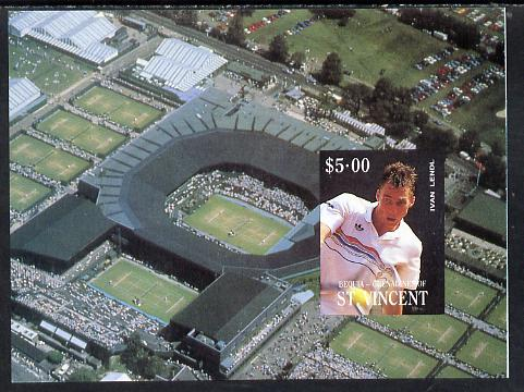 St Vincent - Bequia 1988 International Tennis Players $5 m/sheet (Ivan Lendl) as issued but imperf progressive proof in 4 colours only (orange omitted leaving Country, name and value in white) unmounted mint