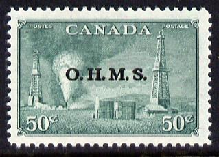 Canada 1950-52 Official 50c Oilwells opt'd 'OHMS' unmounted mint, SG O177