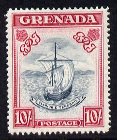 Grenada 1938-50 KG6 definitive Badge of Colony 10s P14 (narrow) mounted mint SG 163e, stamps on , stamps on  kg6 , stamps on