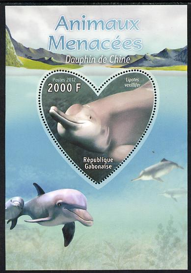 Gabon 2012 Endangered Species - China Dolphin perf souvenir sheet containing heart-shaped stamp unmounted mint