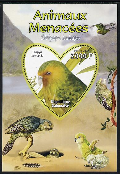 Gabon 2012 Endangered Species - Owl Parrot perf souvenir sheet containing heart-shaped stamp unmounted mint