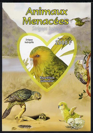 Gabon 2012 Endangered Species - Owl Parrot imperf souvenir sheet containing heart-shaped stamp unmounted mint