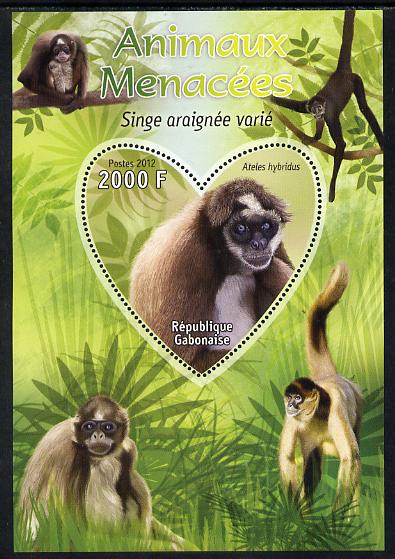Gabon 2012 Endangered Species - Brown Spider Monkey perf souvenir sheet containing heart-shaped stamp unmounted mint
