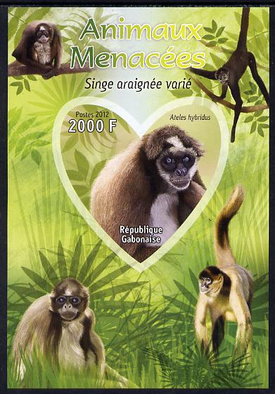 Gabon 2012 Endangered Species - Brown Spider Monkey imperf souvenir sheet containing heart-shaped stamp unmounted mint