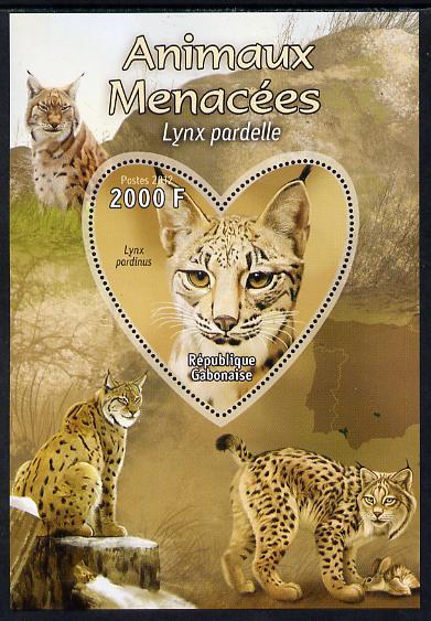 Gabon 2012 Endangered Species - Iberian Lynx perf souvenir sheet containing heart-shaped stamp unmounted mint