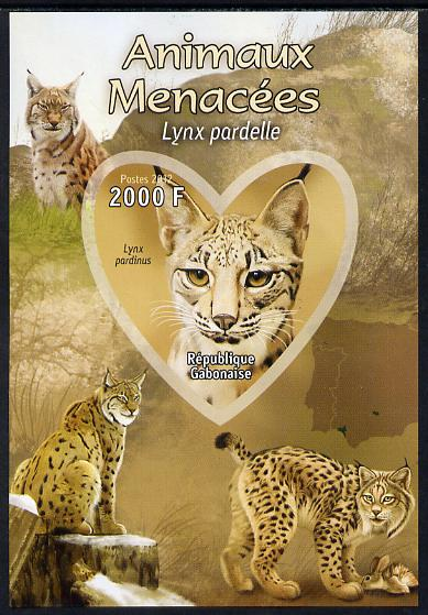 Gabon 2012 Endangered Species - Iberian Lynx imperf souvenir sheet containing heart-shaped stamp unmounted mint