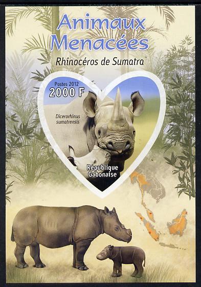 Gabon 2012 Endangered Species - Sumatran Rhinoceros imperf souvenir sheet containing heart-shaped stamp unmounted mint