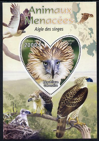 Gabon 2012 Endangered Species - Philippine Eagle perf souvenir sheet containing heart-shaped stamp unmounted mint