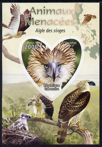 Gabon 2012 Endangered Species - Philippine Eagle imperf souvenir sheet containing heart-shaped stamp unmounted mint