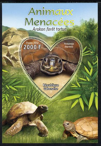 Gabon 2012 Endangered Species - Arakan Forest Turtle perf souvenir sheet containing heart-shaped stamp unmounted mint