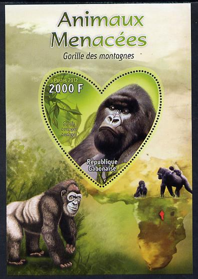 Gabon 2012 Endangered Species - Mountain Gorilla perf souvenir sheet containing heart-shaped stamp unmounted mint