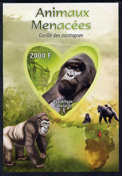 Gabon 2012 Endangered Species - Mountain Gorilla imperf souvenir sheet containing heart-shaped stamp unmounted mint