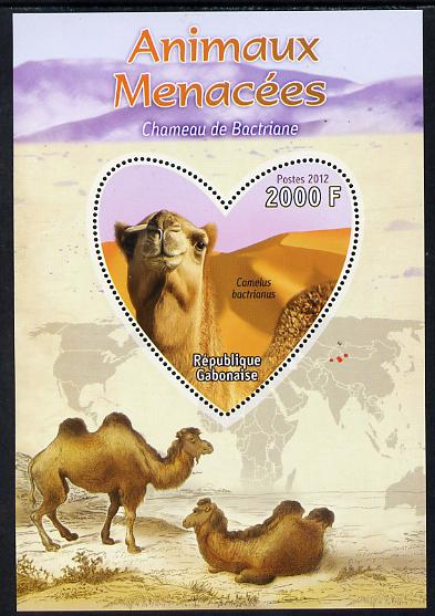 Gabon 2012 Endangered Species - Bactrian Camel perf souvenir sheet containing heart-shaped stamp unmounted mint