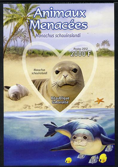 Gabon 2012 Endangered Species - Hawaiian Monk Seal imperf souvenir sheet containing heart-shaped stamp unmounted mint