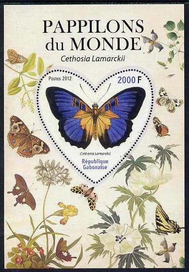 Gabon 2012 Butterflies of the World #1 - Cethosia lamarckii perf souvenir sheet containing heart-shaped stamp unmounted mint