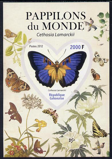 Gabon 2012 Butterflies of the World #1 - Cethosia lamarckii imperf souvenir sheet containing heart-shaped stamp unmounted mint