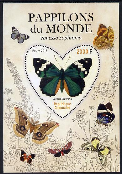 Gabon 2012 Butterflies of the World #2 - Vanessa sophronia perf souvenir sheet containing heart-shaped stamp unmounted mint