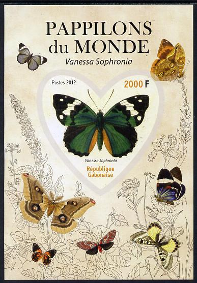 Gabon 2012 Butterflies of the World #2 - Vanessa sophronia imperf souvenir sheet containing heart-shaped stamp unmounted mint