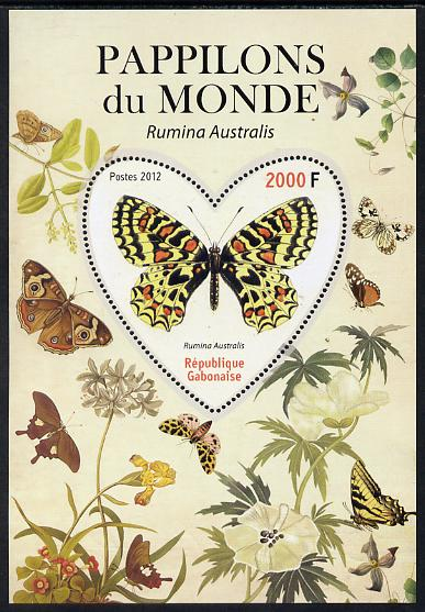 Gabon 2012 Butterflies of the World #3 - Rumina australis perf souvenir sheet containing heart-shaped stamp unmounted mint