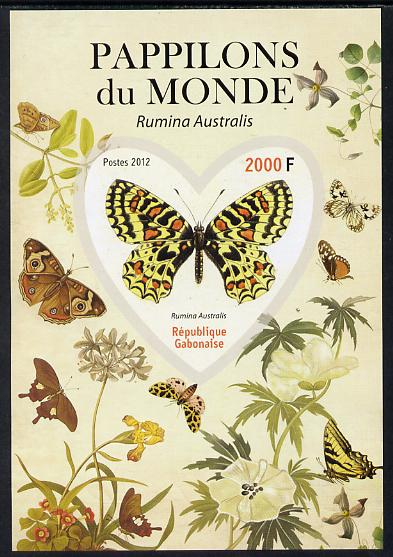 Gabon 2012 Butterflies of the World #3 - Rumina australis imperf souvenir sheet containing heart-shaped stamp unmounted mint