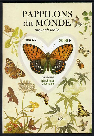 Gabon 2012 Butterflies of the World #4 - Argynnis idalia imperf souvenir sheet containing heart-shaped stamp unmounted mint
