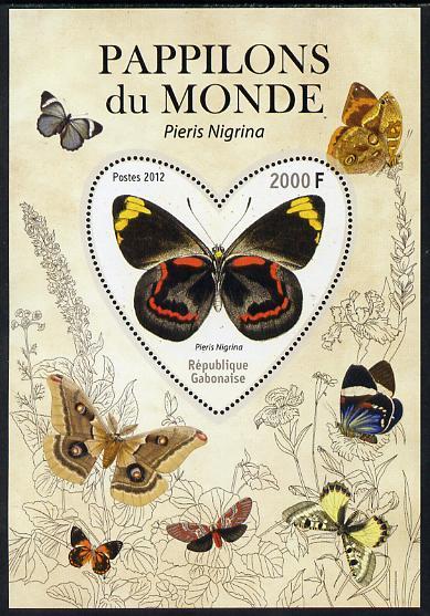 Gabon 2012 Butterflies of the World #5 - Pieris nigrina perf souvenir sheet containing heart-shaped stamp unmounted mint