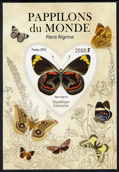 Gabon 2012 Butterflies of the World #5 - Pieris nigrina imperf souvenir sheet containing heart-shaped stamp unmounted mint
