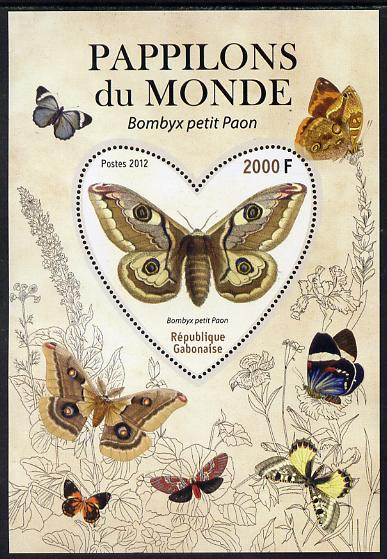 Gabon 2012 Butterflies of the World #6 - Bombyx petit paon perf souvenir sheet containing heart-shaped stamp unmounted mint