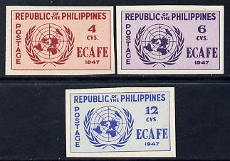 Philippines 1947 Conference of Economic Commission in Asia imperf set of 3 unmounted mint, SG 648-50