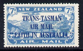 New Zealand 1934 Trans-Tasman Faith in Australia 7d blue lightly mounted mint SG 554