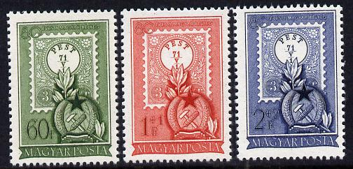 Hungary 1951 80th Anniversary of First Hungarian Stamp set of 3 unmounted mint SG 1197-99