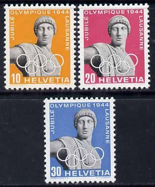 Switzerland 1944 Olympic Games Jubilee set of 3 unmounted mint SG 434-6