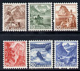 Switzerland 1948 Landscapes New Colours set of 6 unmounted mint SG 489-94